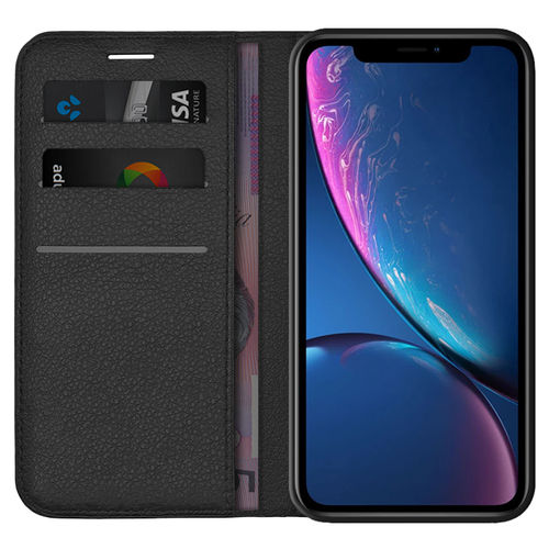 Leather Wallet Case & Card Holder Pouch for Apple iPhone Xr - Black